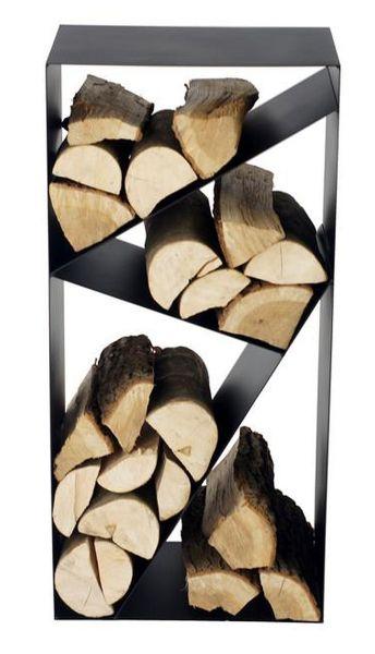 Kaminholzregal Stahl schwarz 4 Fächer Brennholzständer handgefertigt N-BR-144