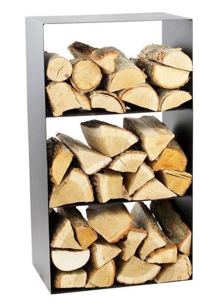 Kaminholzregal 3 Fächer Stahl schwarz Brennholzständer handgefertigt N-BR-147