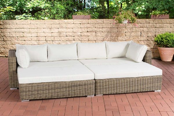 4-tlg. XXL Lounge 5 Farben Big Sofa 2x Hocker Auflagen Daybed 280 cm CL-Tessa
