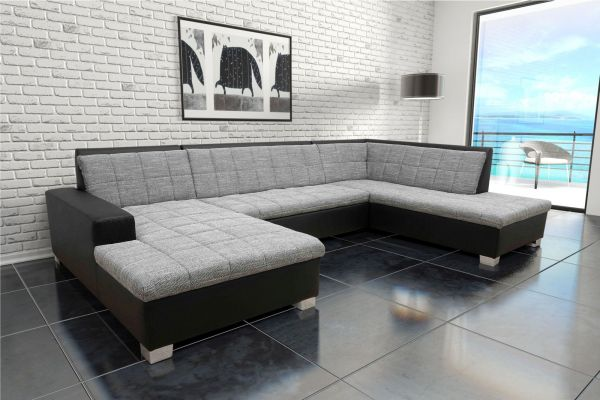 Wohnlandschaft Bettfunktion Farb- Materialmix Webware Kunstleder U-Couch DO-Quinto
