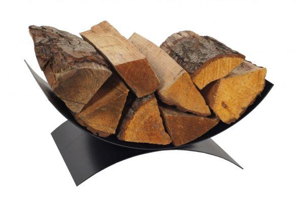 Holzkorb Stahl Halbschale schwarz Handarbeit Brennholz-Schale Kaminholzständer N-HK-K14