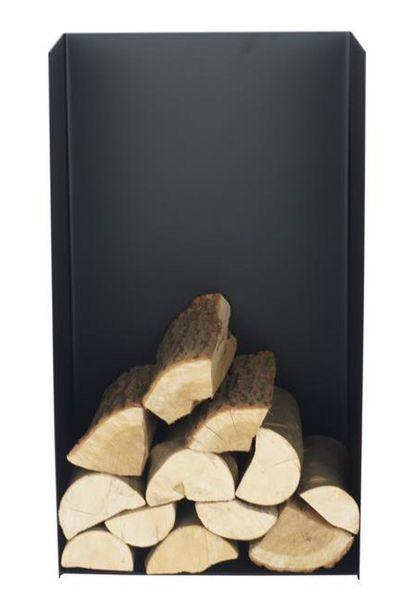 Kaminholzregal Rückwand Stahl schwarz handgefertigt Brennholzregal N-BR-148