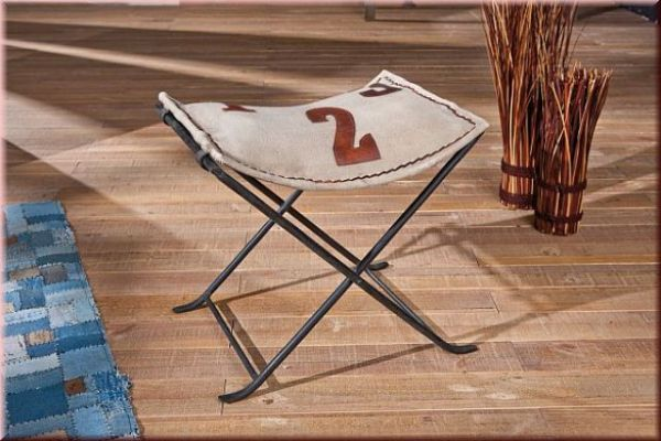 Hocker Klapphocker Retro Shabby Chic Leder Canvas L-Kalabri/Nebraska